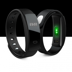 QS80 Sport Tracker Watch Bluetooth Smart Blood Pressure Heart Rate Bracelet for Android black one size