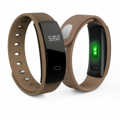 QS80 Blood Pressure Heart Rate Monitor Bluetooth Smart Sport Bracelet coffee one size