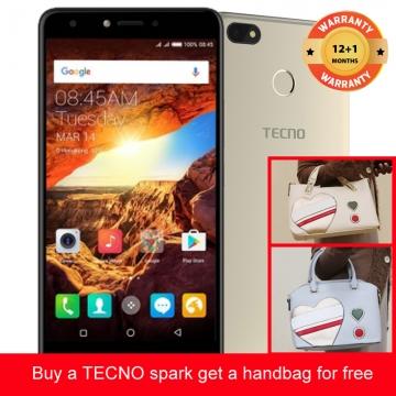 TECNO Spark K7 get a bag for free ,16+1GB, 13+5MP, 5.5 Inch, Hios 2.1, 3000mAh, Smartphone Gold