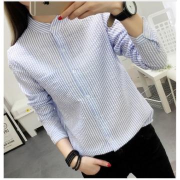 Blouses White Shirt Women Blouse 2017 New Autumn Stripe Long Sleeve Shirts Ladies Tops Female blue m