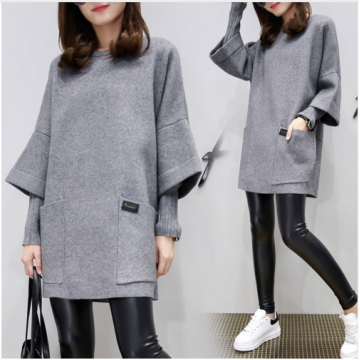 2017 Causal Women Patched Knitted Sleeve Loose Style Coat Lady's Winter Fake Two Pieces Pullovers grey l
