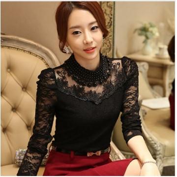 elegant long sleeve bodysuit beaded Women lace blouse shirts crochet tops blusas Mesh Chiffon blouse black l