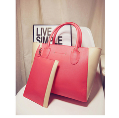 Toofn Handbag 4 colors Top quality fashion women casual tote bag PU leather handbags S597 Pink