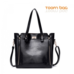 Toofn Handbag Women 2 Piece Lash Packages Big Shoulder bag Casual Handbag TD5415 Black