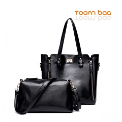 Toofn Handbag Women 2 Piece Lash Packages Big Shoulder bag Casual Handbag Black
