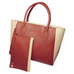 Toofn Handbag 4 colors Fashion Women Casual Tote Bag,PU Leather Handbags Coffee