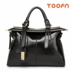 Toofn Handbag Oil Wax Elegant Women's Shoulder Bag Black F