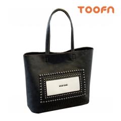 Toofn Handbag Composite Package,2 Pieces PU Leather Shoulder Bag Black F