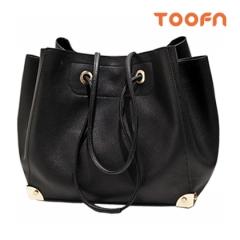Toofn Handbag High Class Women Tote Shoulder Bag Black F