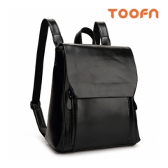 Toofn Handbag Girls Backpack Bag,PU Leather Backpack Black F