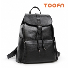 Toofn Handbag Women Packsack,PU Leather Knapsack Black F