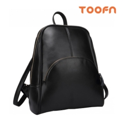 Toofn Handbag PU Leather School Bags Backpack for Women Black F