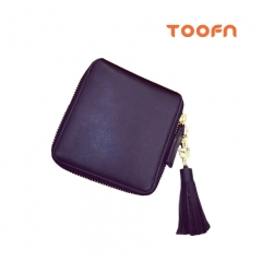 Toofn Handbag Premium Leather Wallet with Zipper Black F
