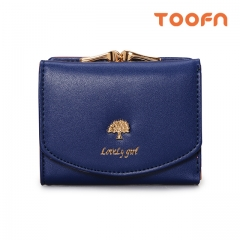 Toofn Handbag New Design Short Wallets for Ladies Blue F