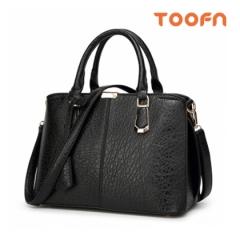 Toofn Handbag Classic Single Shoulder Bag,Satchel Bag for women Black F