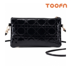 Toofn Handbag PU Leather Crossbody Bag,Ladies Slingbag Black F