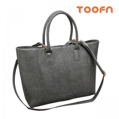 Toofn Handbag Crocodile Leather Ladies Handbag,Satchel Bag Gray F