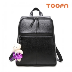 Toofn Handbag PU Leather Backpack for Ladies,Female Backpacks Black F