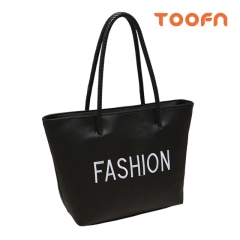 Toofn Handbag Fashion Embroidery Letter Single Shoulder Bag Black F