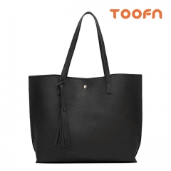 Toofn Handbag Simple Fashion Tassel Tote Bag,Big Handbags for Women Black F