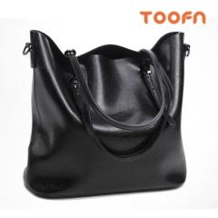 Toofn Handbag Long Strap Tote Bag,Retro Single Shoulder Bag with Large Capacity Black F