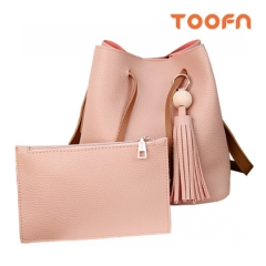 Toofn Handbag Tassel Single Shoulder Bag,Bucket Bag Pink F