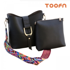 Toofn Handbag Rainbow Strap Shoulder Messenger Bag Black F
