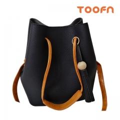 Toofn Handbag Tassel Single Shoulder Bag,Bucket Bag Black F