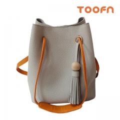 Toofn Handbag Tassel Single Shoulder Bag,Bucket Bag Gray F