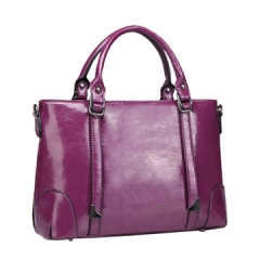 Christmas Gift Toofn Handbag Lady Wax Leather Crossbody Shoulder Bag Purple F