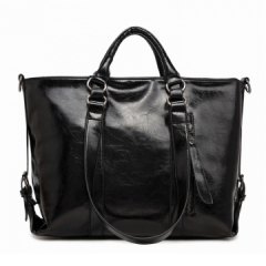 Toofn Handbag Retro Oil Wax Shoulder Messenger Bag Black F