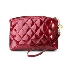 Toofn Handbag Patent Leather Cosmetic Purse Plaid Bag Red F