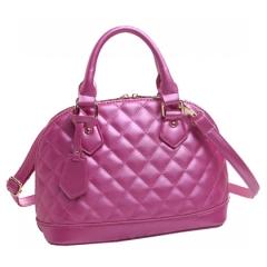 Women Leather Plaid Handbags,Sling Shoulder Bag Pink