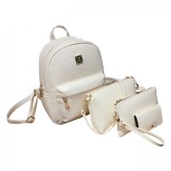 Toofn Handbag PU Leather Girls Backpack Bag white f
