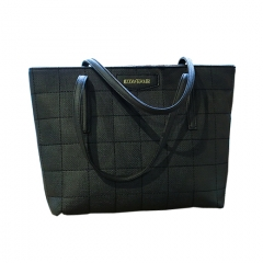 Toofn Handbag Solid Color PU Leather Tote Bags black f