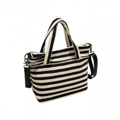Toofn Handbag Striped Canvas Hand Bag,Sling Bag for Ladies black f