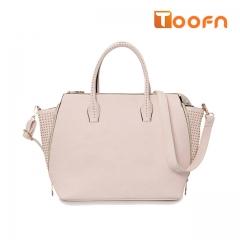 Toofn Handbag PU Leather Tote Bag,Ladies Hand Bag Rice White F