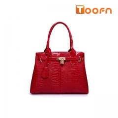 Toofn Handbag 3 Color  Women Fashion Style Zipper Handbag Red F