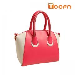 Toofn Handbag Women's Fashion Design PU Leather Handbags Pink F