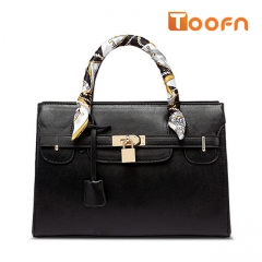 Toofn Handbag Europe New Tie Bags Tote Cross Pattern Platinum Bag Black F
