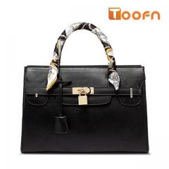 Toofn Handbag Europe New Tie Bags Tote Cross Pattern Platinum Bag Black F