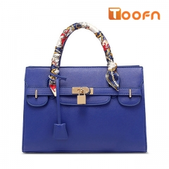 Toofn Handbag Europe New Tie Bags Tote Cross Pattern Platinum Bag Blue F