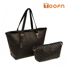 Toofn Handbag 2 Piece Fashion Tote Bag Set Leather Shoulder Handbags Purses Black