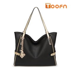 Toofn Handbag 2016 New European Fashion Lady Tassel Messenger Shoulder Handbag Black F