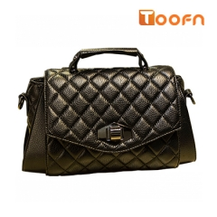 Toofn Handbag All-match PU Leather Crossbody Bag,Women Sling Bag Black F