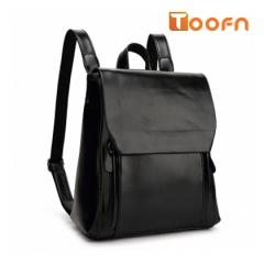 Toofn Handbag Girls Backpack Bag,PU Leather Backpack Black F