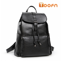 Toofn Handbag Women Packsack,PU Leather Knapsack Black F