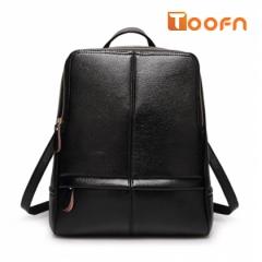 Toofn Handbag Leisure PU Leather Backpack,School Bag Packback Black F