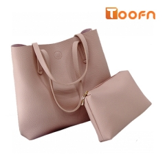 Toofn Handbag PU Leather Shoulder Bag,Women Bags Pink F