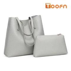 Toofn Handbag PU Leather Shoulder Bag,Women Bags Gray F